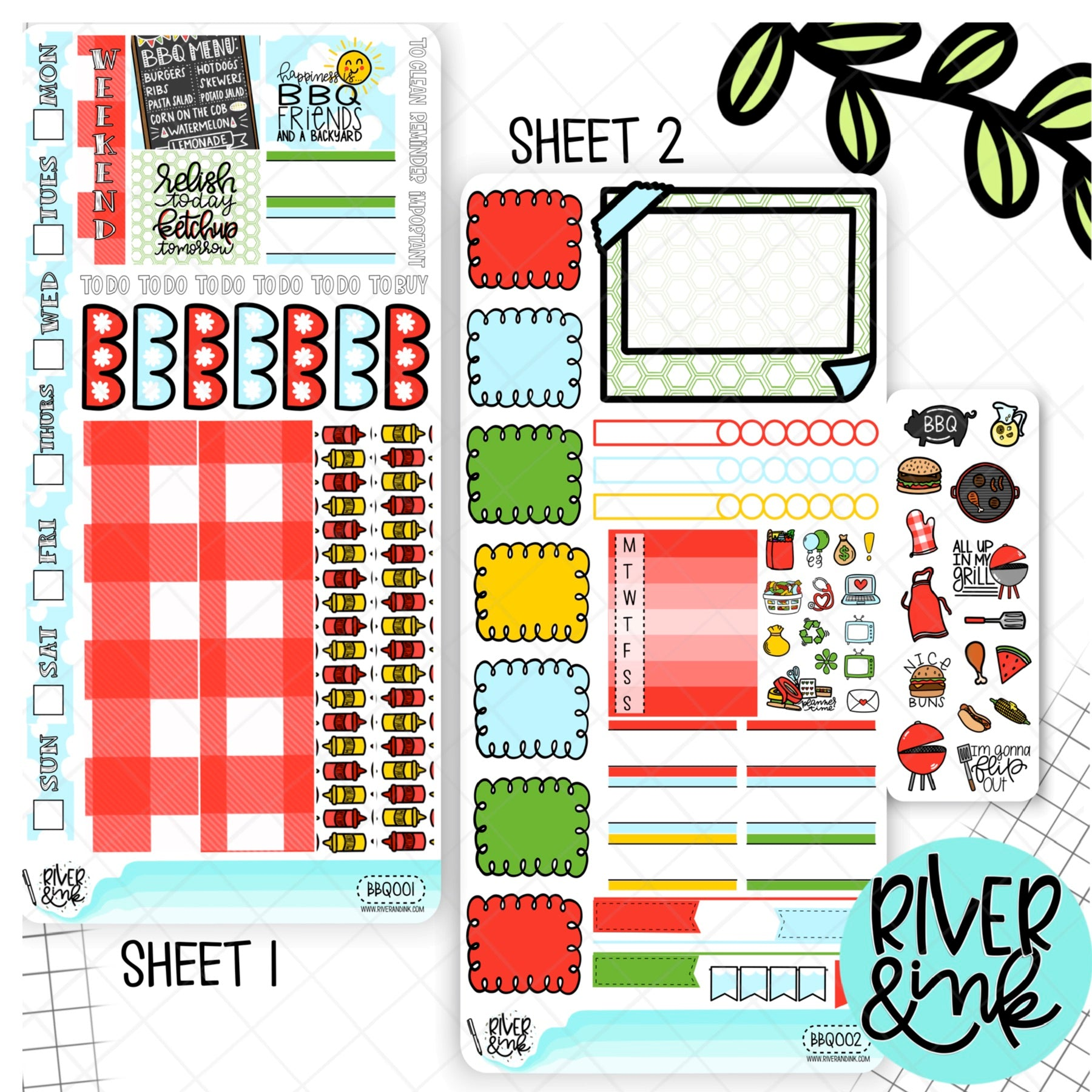 Backyard BBQ Hobonichi Weeks Sticker Kit | Planner Stickers
