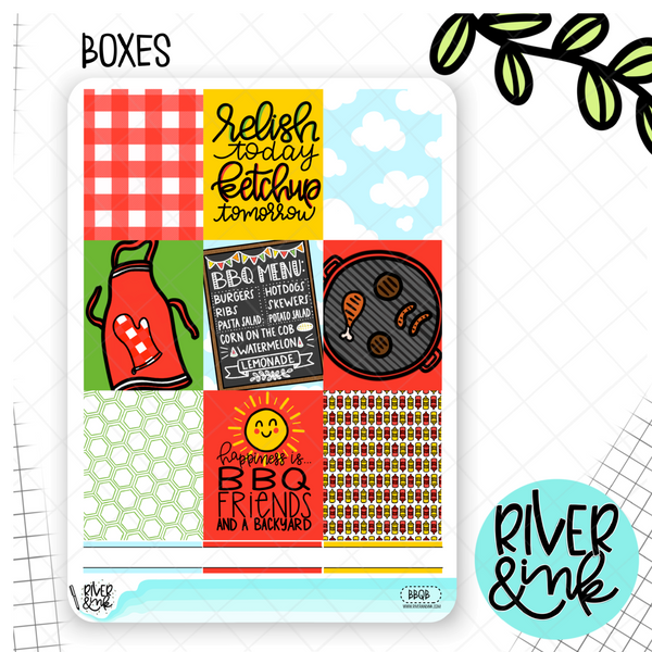 Backyard BBQ Weekly Planner Stickers Kit