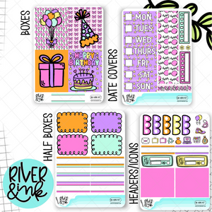 Birthday Bash Pink | Mini Weekly Planner Stickers Kit