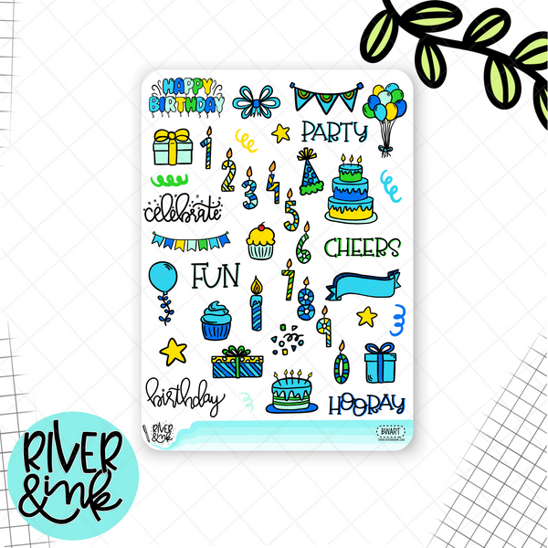 Birthday Bash Blue Weekly Vertical Stickers Kit | Planner Stickers