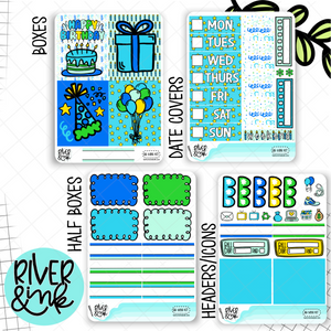 Birthday Bash Blue | Mini Weekly Planner Stickers Kit