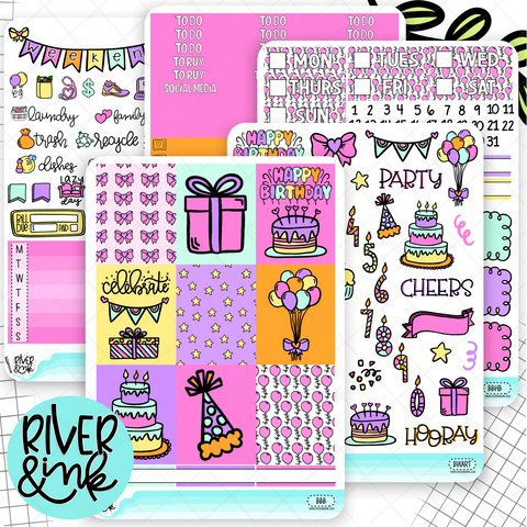 Birthday Bash Pink Weekly Vertical Stickers Kit | Planner Stickers