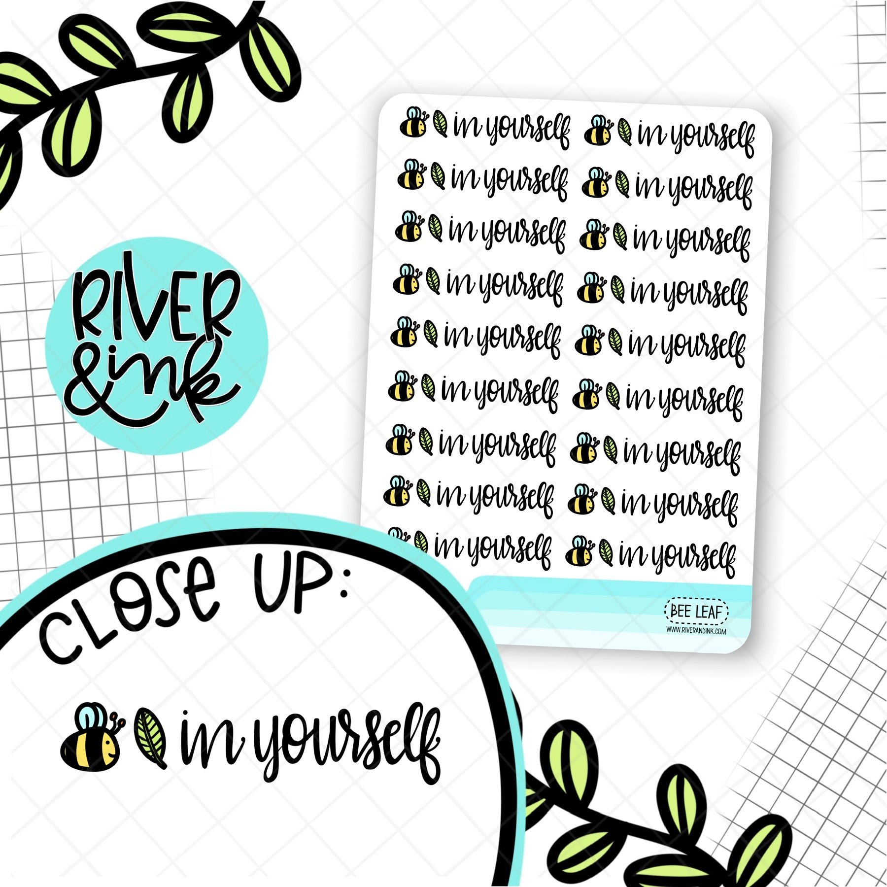 Bee Leaf In Yourself Quotes | Hand Lettered Planner Stickers
