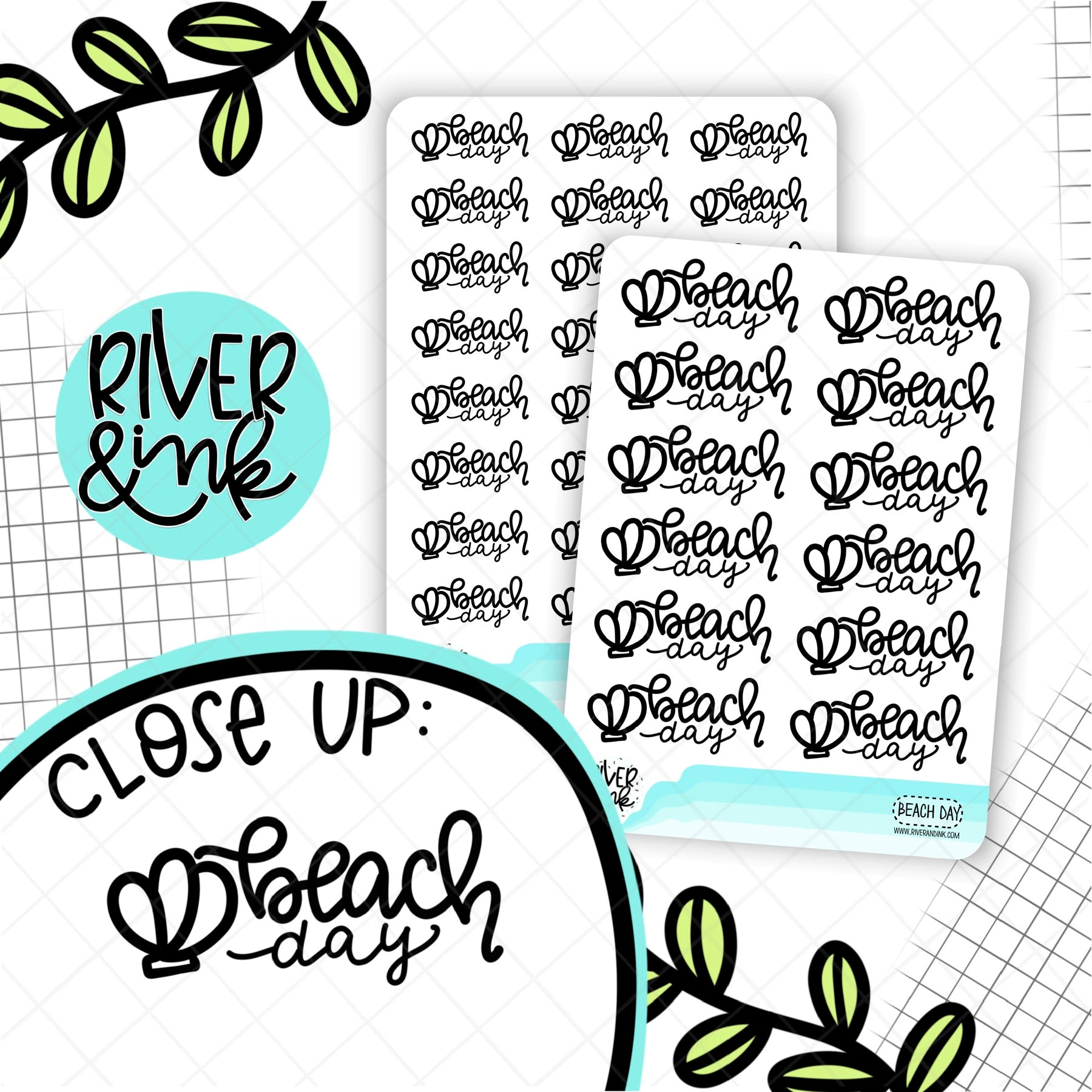 Black & White Beach Day Quotes | Hand Lettered Planner Stickers