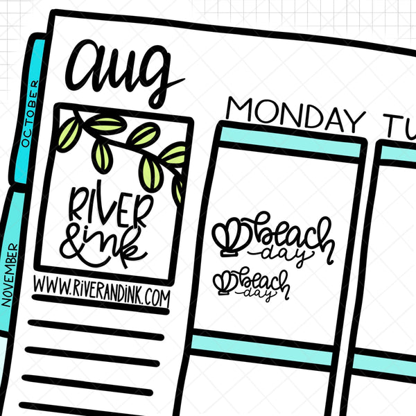 Rainbow Beach Day Quotes | Hand Lettered Planner Stickers