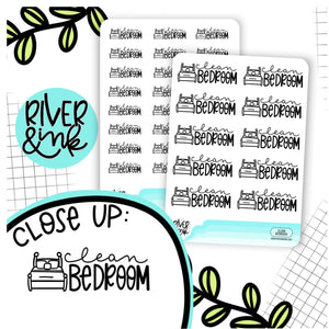 Clean Bedroom | Hand Lettered Planner Stickers