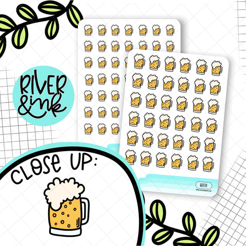Beer Mug Stickers| Hand Drawn Planner Stickers