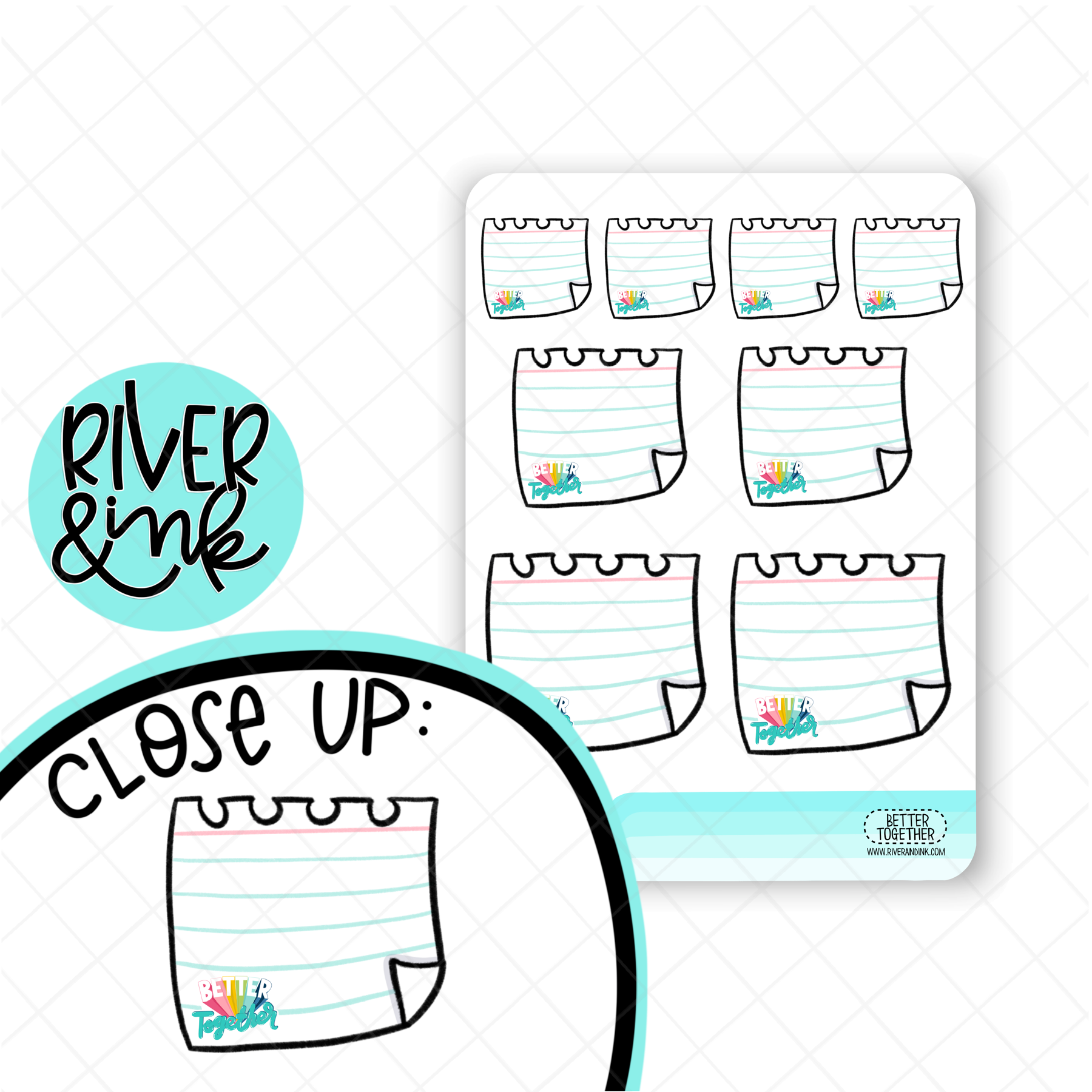West Coast Planners Better Together Note Page Boxes| Hand Lettered Planner Stickers