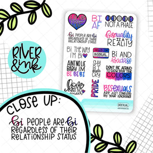 Bisexual Pride Quotes | Hand Lettered Planner Stickers