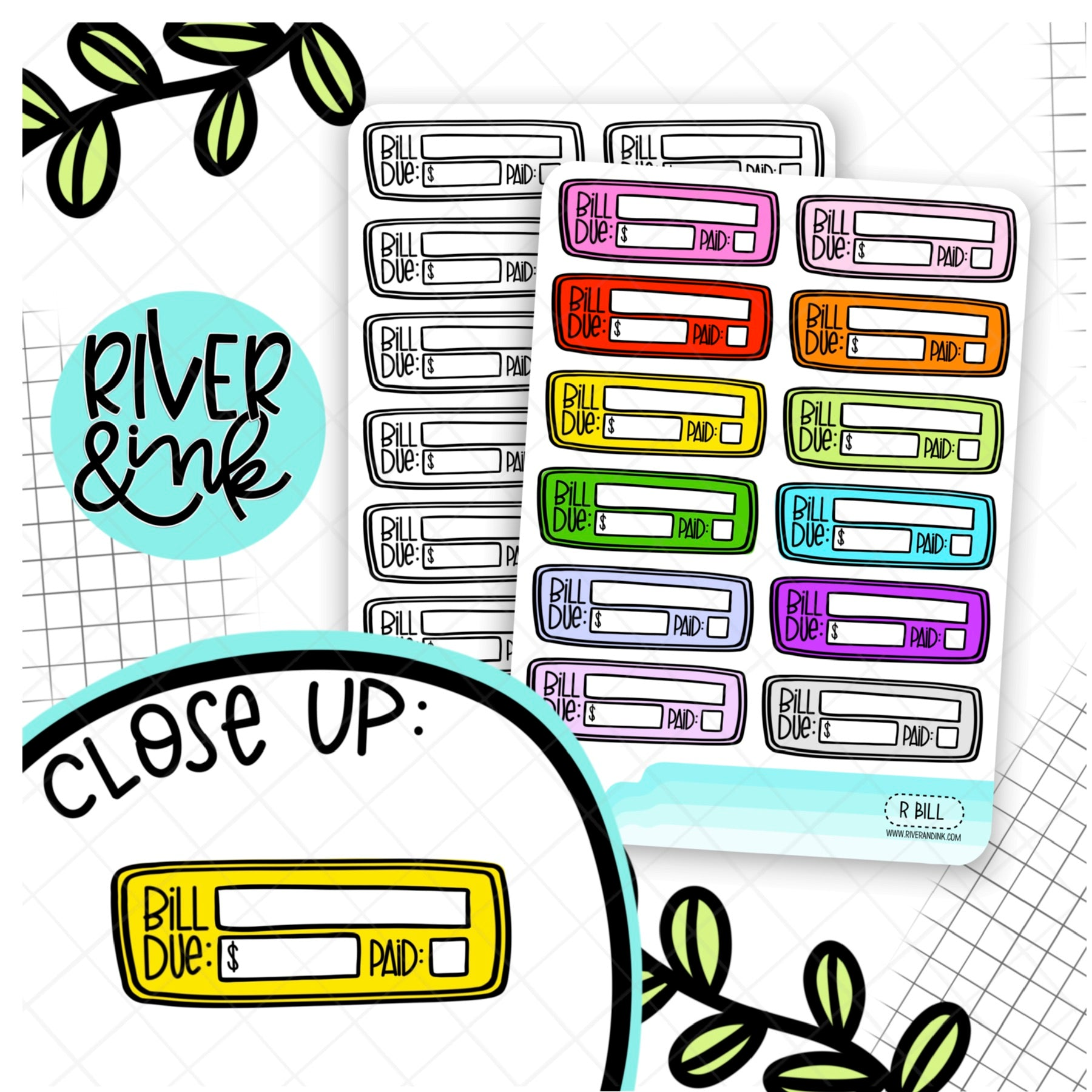 Bill Due Budgeting Quarter Boxes | Planner Stickers