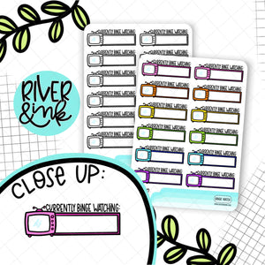 Currently Binge Watching Boxes | Hand Lettered Planner Stickers
