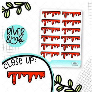 Blood Drips Dividers | Hand Drawn Planner Stickers