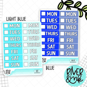 Blue Color Block Date Covers | Planner Stickers