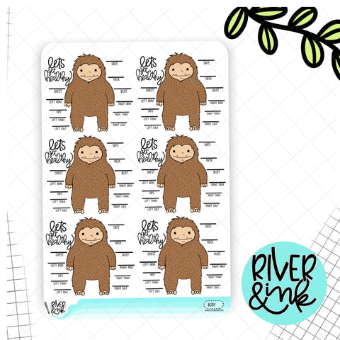 Body Measurement Tracker Biggie Sass Sasquatch| Hand Drawn Planner Stickers