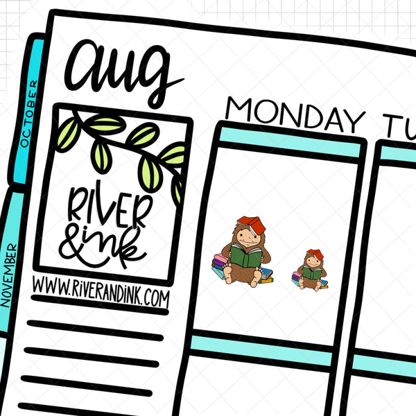 Book Worm Reading Biggie Sass Planner Character |  Hand Drawn Planner Stickers