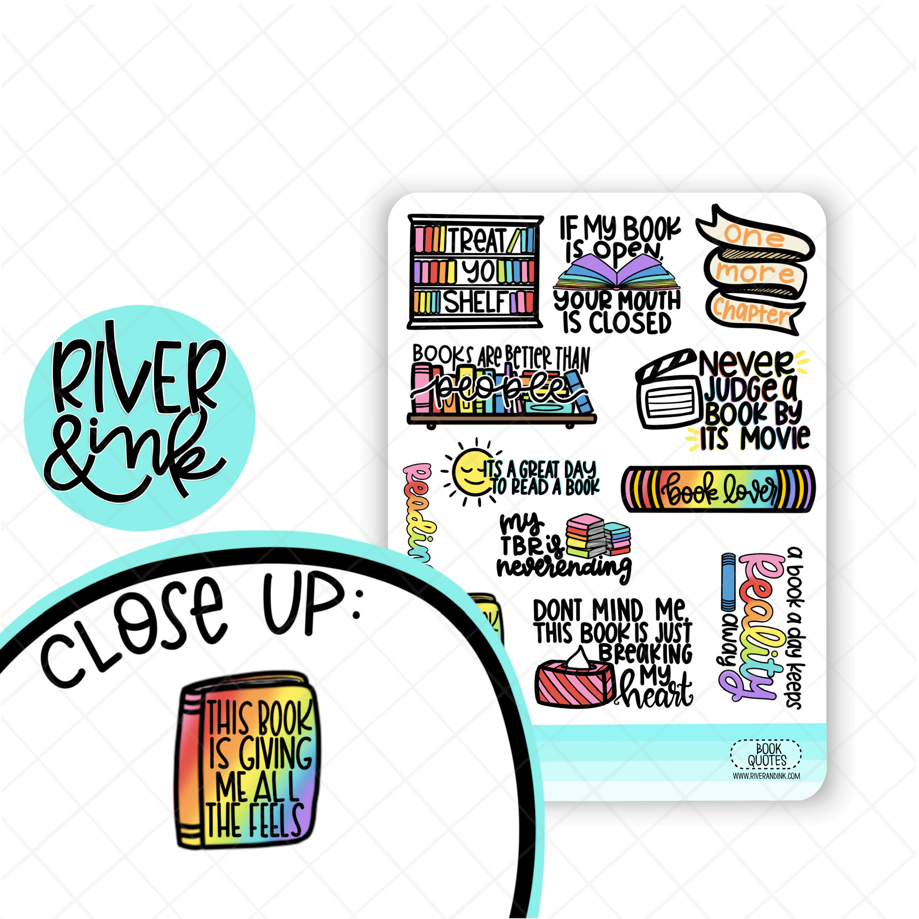 Book Quotes 2 | Hand Lettered Planner Stickers