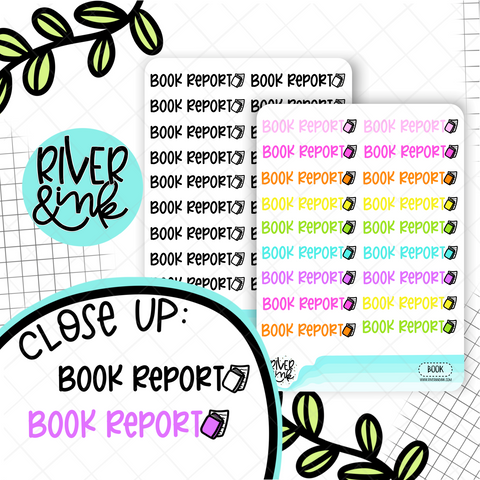 Book Report | Hand Lettered Planner Stickers