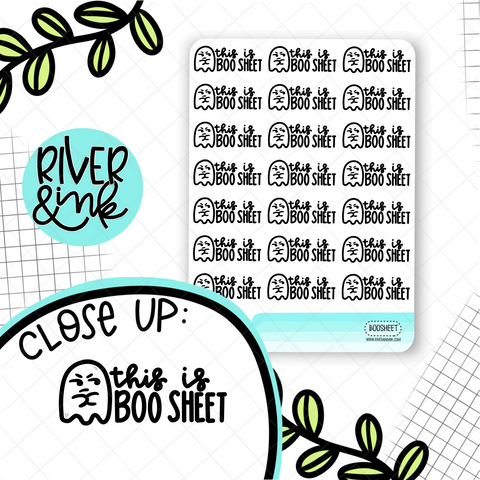 This is BOO Sheet Ghost Pun | Hand Drawn Planner Stickers
