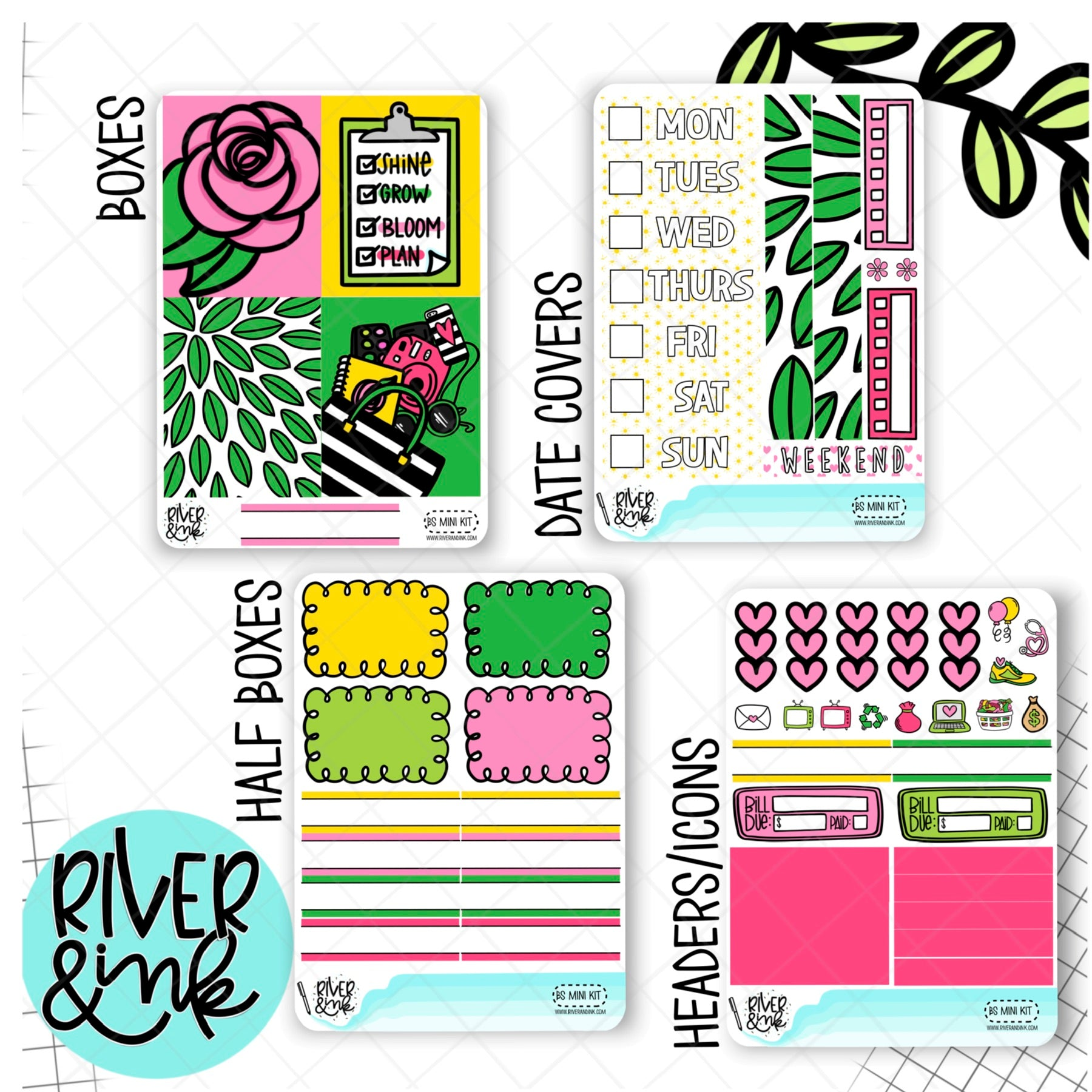 Bright & Sunny | Mini Weekly Planner Stickers Kit