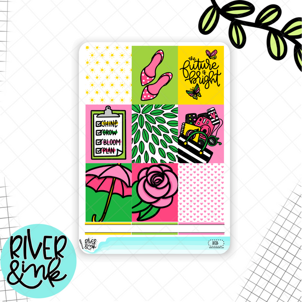 Bright and Sunny | Weekly Vertical Stickers Kit Planner Stickers