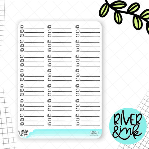 Bullet Checklist Half Boxes | Planner Stickers