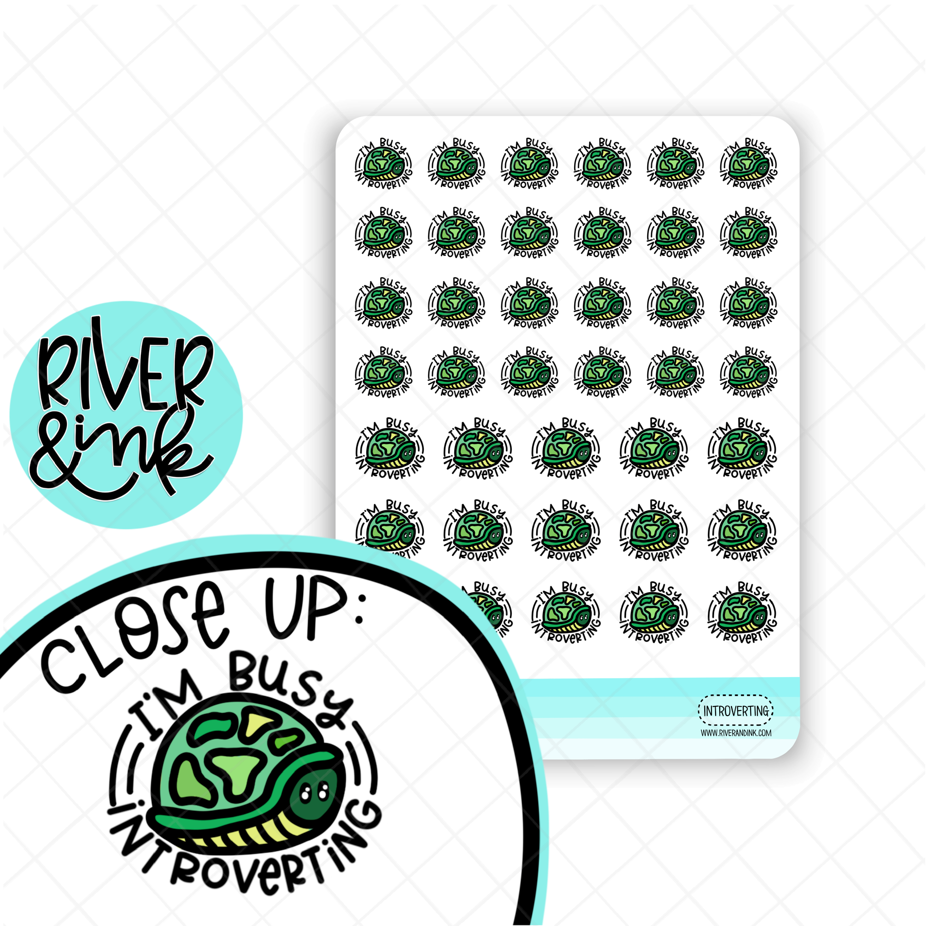 I'm Busy Introverting Turtle | Hand Drawn Planner Stickers