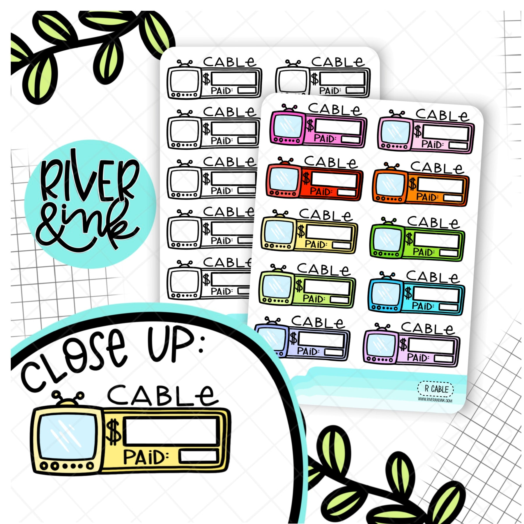 Cable Bill Budgeting Quarter Boxes | Hand Lettered Planner Stickers