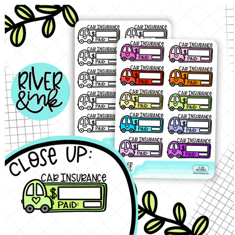 Car Insurance Bill Budget Planner Stickers