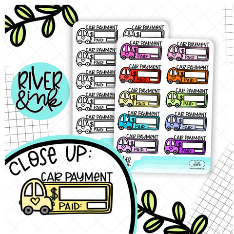 Car Payment Bill Budgeting | Hand Drawn Planner Stickers