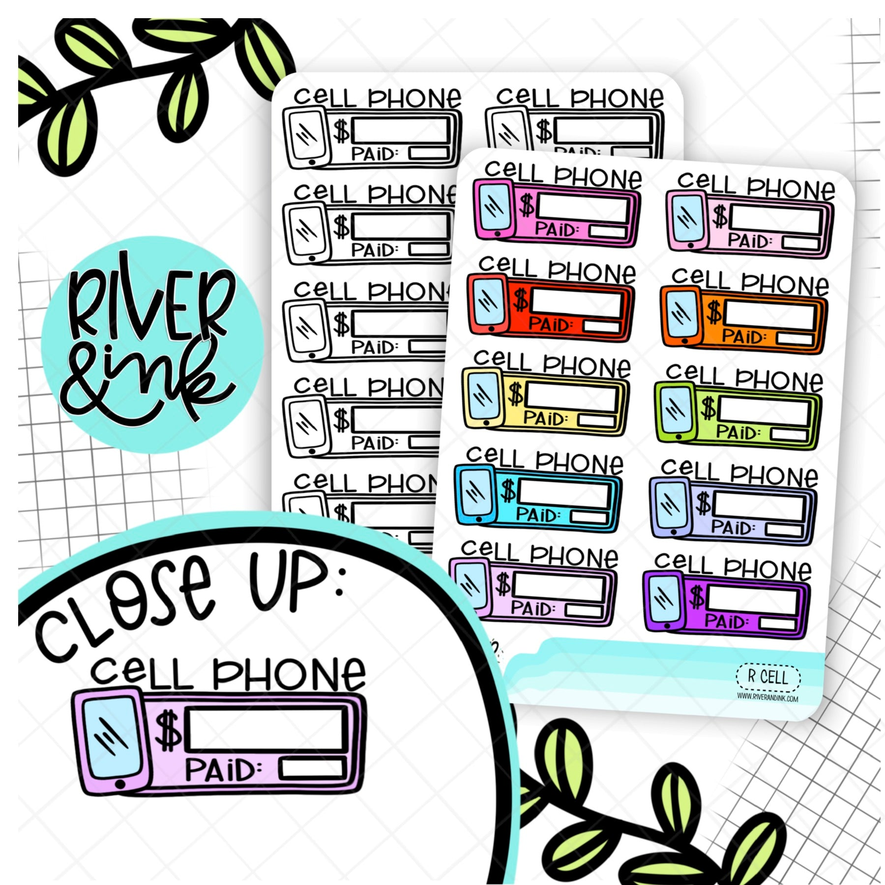 Cell Phone Bill Budgeting Boxes | Hand Lettered Planner Stickers