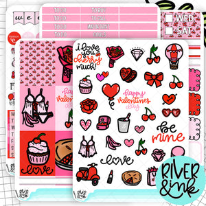I Love You Cherry Much Valentines | Weekly Vertical Planner Stickers Kit