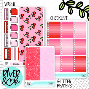 I Love You Cherry Much Valentines | Weekly Vertical Planner Stickers Kit Add Ons
