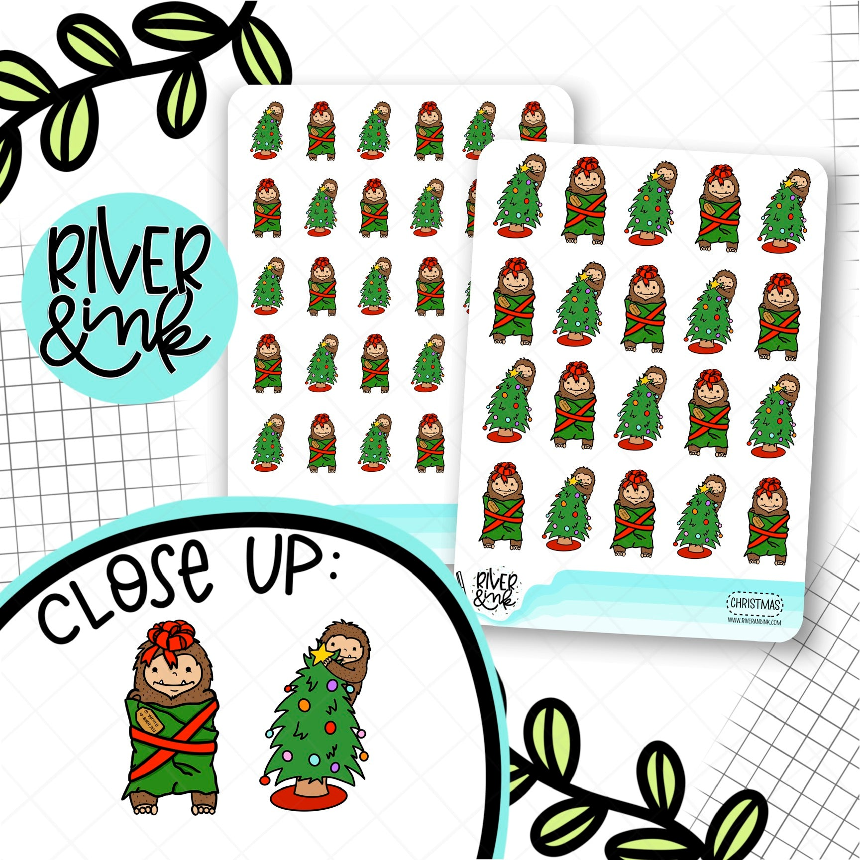 Christmas Tree Biggie Sass Planner Characters | Hand Drawn Planner Stickers