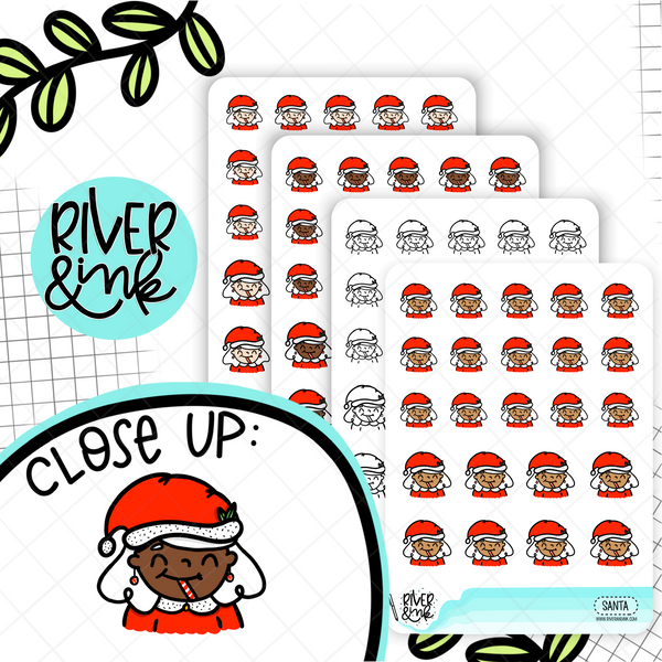 Santa Clause Christmas Planner Characters | Hand Drawn Planner Stickers