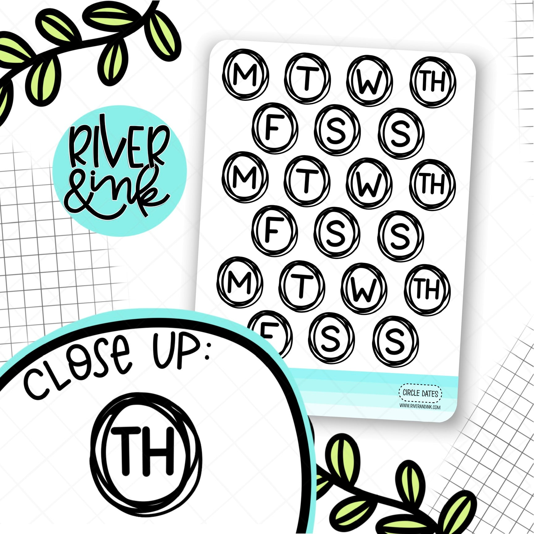 Circle Date Cover | Hand Lettered Planner Stickers