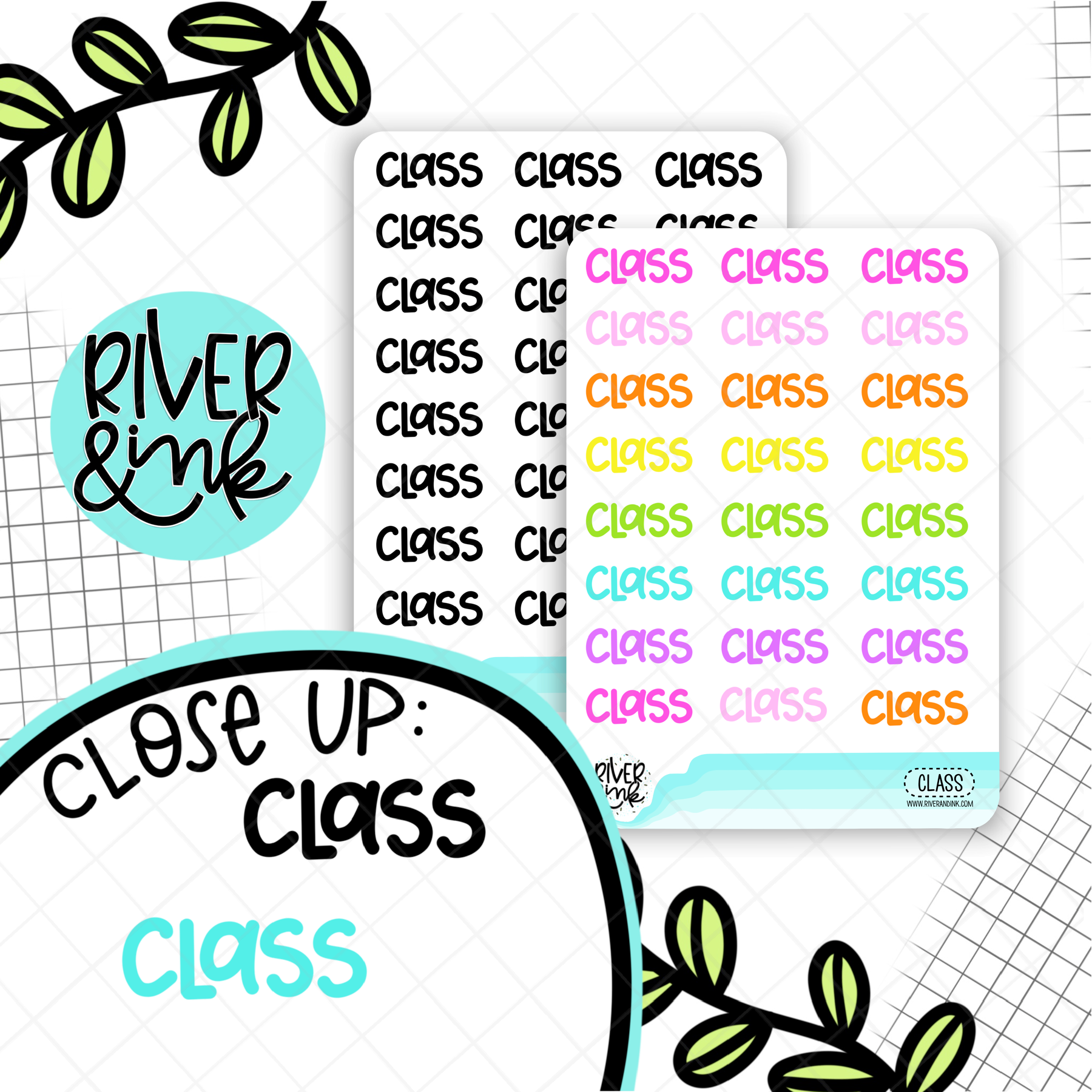 Class | Hand Lettered Planner Stickers