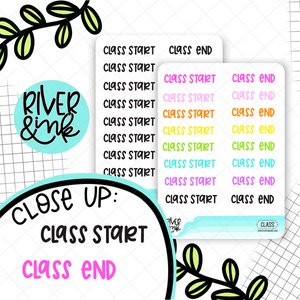 Class Start End | Hand Lettered Planner Stickers