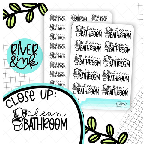 Clean Bathroom | Hand Lettered Planner Stickers