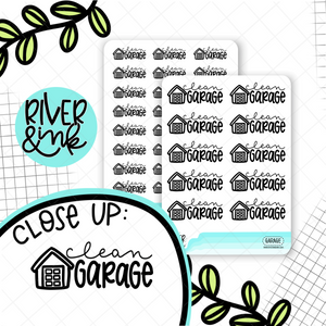 Clean Garage | Hand Lettered Planner Stickers