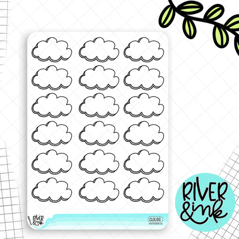 Cloud Doodled Half Boxes | Planner Stickers