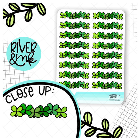 Four Leaf Clover Divider St Patricks Day | Hand Drawn Planner Stickers