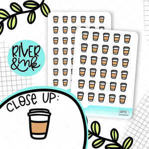 Black & White Coffee Icons | Hand Drawn Planner Stickers
