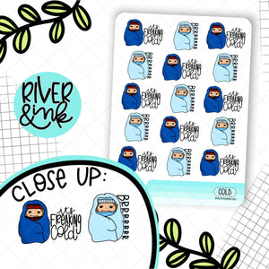 Freaking Cold Biggie Sass Planner Character | Hand Drawn Planner Stickers