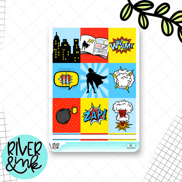 Comic Weekly Vertical Kit | Planner Stickers