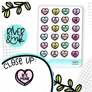 Conversation Hearts | Hand Drawn Planner Stickers