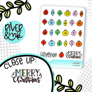 Christmas Ornament Countdown | Hand Drawn Planner Stickers