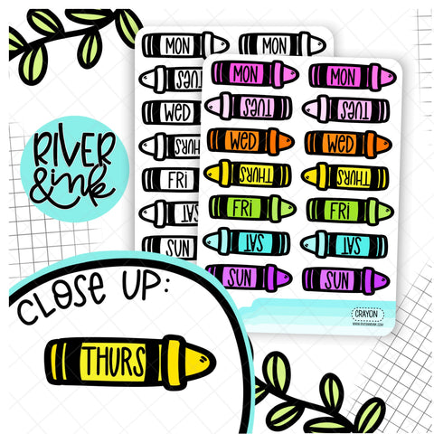 Crayon Date Cover | Hand Drawn Planner Stickers