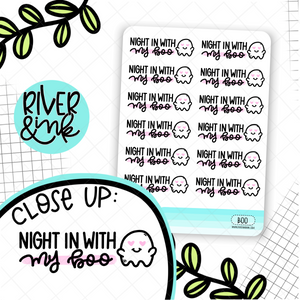 Night In With My Boo Ghost | Hand Drawn Planner Stickers