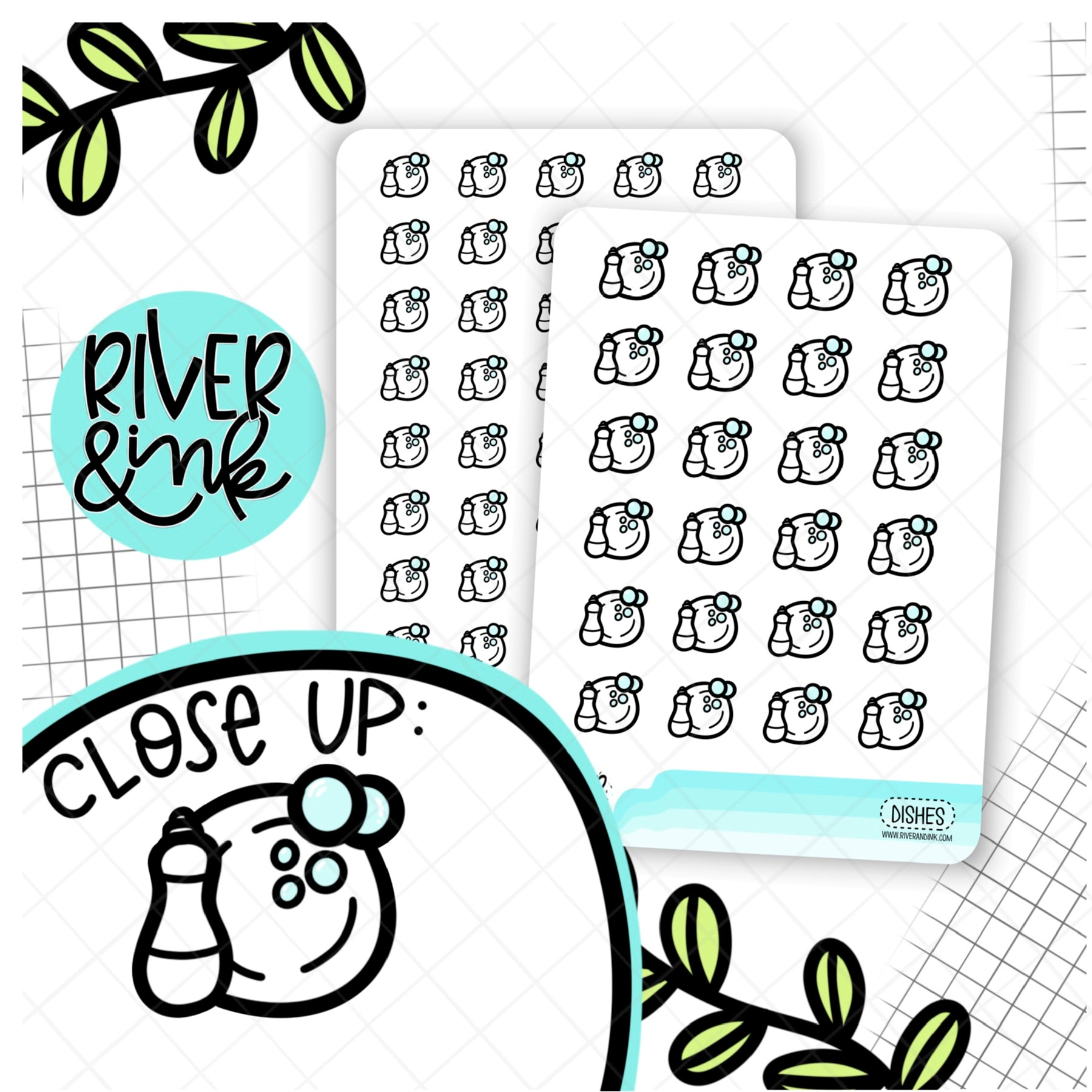 Black & White Dishes Icon | Hand Drawn Planner Stickers