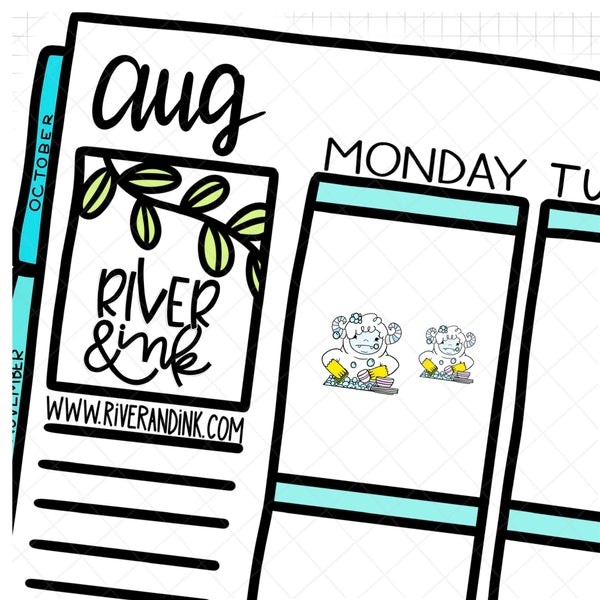 Dishes Ygritte Yeti Planner Character | Hand Drawn Stickers